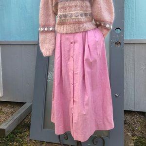 Vintage high waisted 80s pink pockets modest skirt